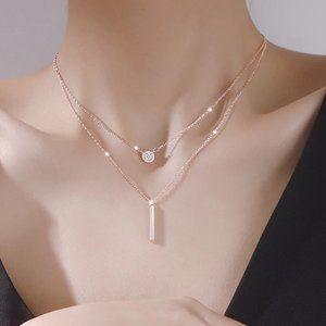*NEW 925 Silver Diamond Coin Bar Layered Necklace